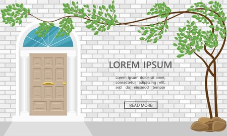Elements of architecture, front door background, vector, illustration