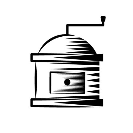 Coffee grinder glyph icon, coffee and cafe icon linear drawing on a white background.