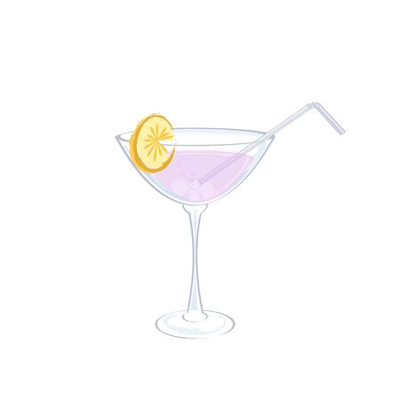 An isolated glass with a cocktail on a white background