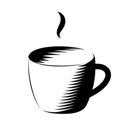 A cup of coffee. Black cup icon on a white background