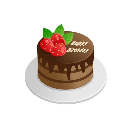 Chocolate cake decorated with strawberries. Vector illustration. Иллюстрация