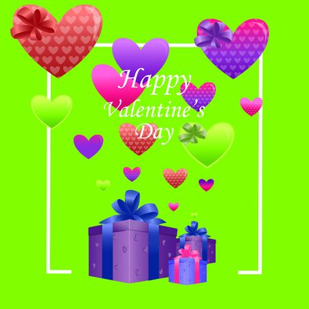 Illustration of happy valentines day, multicolored hearts on a bright green background