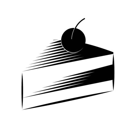 Dessert icon. Slice of birthday cake. Icon for a pastry shop or cafe. Vector illustration