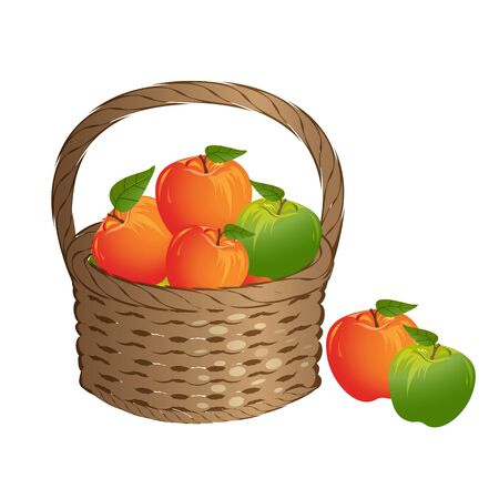 Wicker basket with red and green apples Иллюстрация