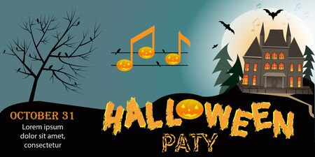 Vector Halloween party invitation or greeting cards with handwritten calligraphy and traditional symbols. Иллюстрация
