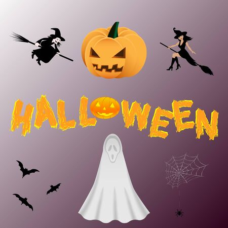 Halloween pictures set. Ghost, bats, witches, spider on the web, pumpkin. Çizim