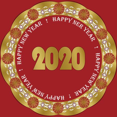 Happy New Year 2020. Banner template, poster in oriental style. Elements of Christmas decorations. Circular ornament, geometric shapes, snowflakes. Vector illustration Stock Vector - 134764152