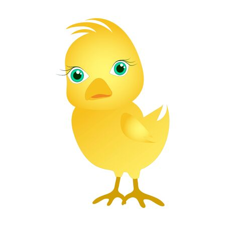 Pollo in stile cartone animato. Simpatico pulcino giallo. Applicabile per biglietti di Pasqua, libri per bambini. Stock di vettore immagine isolata su uno sfondo bianco.