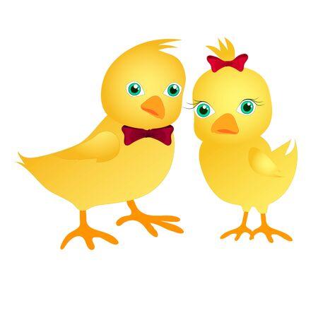 Un par de lindas gallinas. Niño pollo y niña pollo en estilo de dibujos animados. Pájaros amarillos sobre un fondo blanco. Para tarjetas de Pascua, libros para niños, ropa para niños. Ilustración vectorial de stock aislado. Ilustración de vector