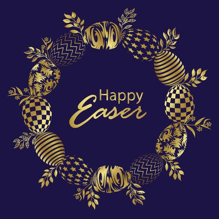 Easter wreath with hand drawn gold easter eggs on blue background. Decorative frame from easter eggs and floral elements. Vector isolated stock image. 向量圖像
