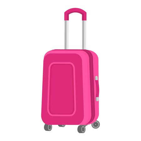 Pink suitcase on wheels. Large travel bag with a metal long handle and two short handles. Vector isolated flat icon on a white background.