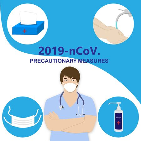 Corona virus illustration. The doctor warns to observe precautions mask, antiseptic, wet wipes, washing hands. Vector isolated stock illustration.