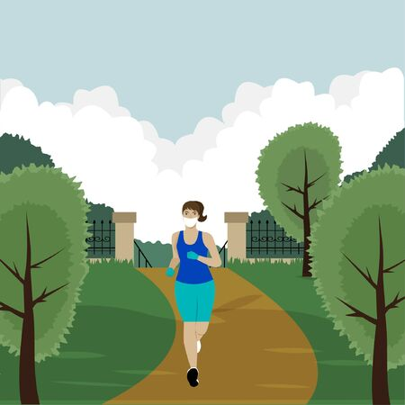 Girl in a protective mask and gloves jogging in the park. Coronovirus prophylaxis. Precautions. Vector isolated illustration.