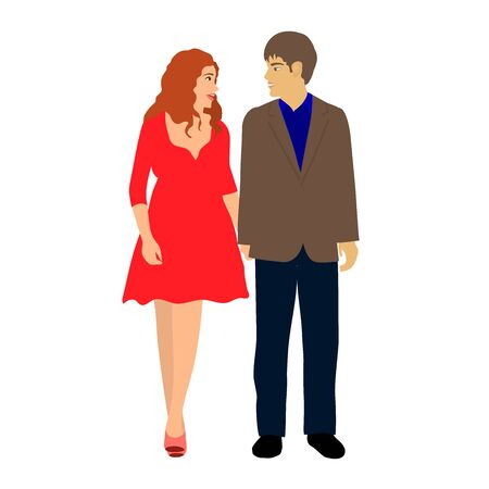 Boyfriend and girlfriend on a date. Students in love, friendship or relationships. Youth on a walk. Vector isolated illustration on a white background.