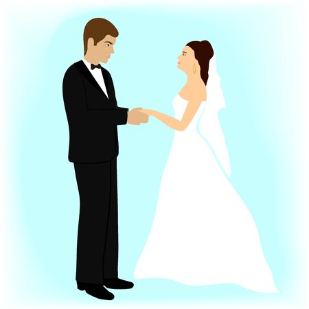 Wedding. Newlyweds. Happy young family at the wedding ceremony. The man and woman are getting married. The bride and groom, a girl in a wedding dress, a guy in a suit. Isolated vector illustration.