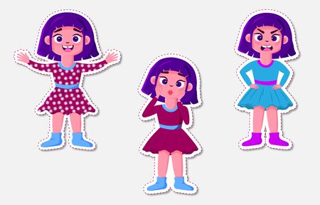 Set girl with different emotions. Laughter, anger, surprise. Stickers on a notebook, postcards, social networks. Vector isolated illustration.