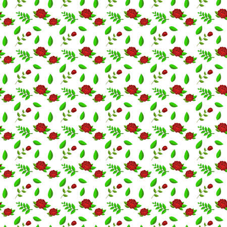 Floral seamless pattern. Red roses and pink buds, green leaves. Isolated vector illustration.