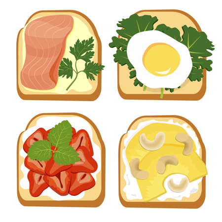 Toast party, healthy breakfast. Whole grain bread slices with egg, fish, fruit, seeds and nuts. Top view. Vector illustration of toast bread food snack lunch sandwich.