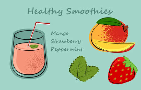Fruit smoothie. Whisk the mango, strawberries, add the mint. Vertical vector illustration in cartoon style. Fresh drinks menu, juices for a healthy lifestyle.