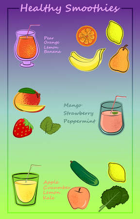 Set of fruit, vegetable and berry smoothies. Collection of drinks in cartoon style. Summer drinks made from fruits and vegetables. Vector isolated stock illustration.
