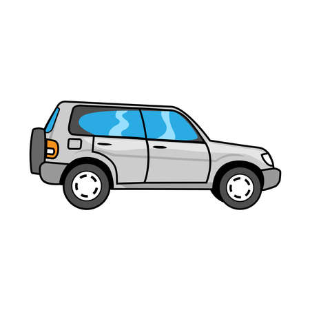 Car in metallic paint on a white background