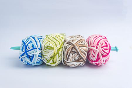 weave ball: Handmade knitted crochet background Stock Photo