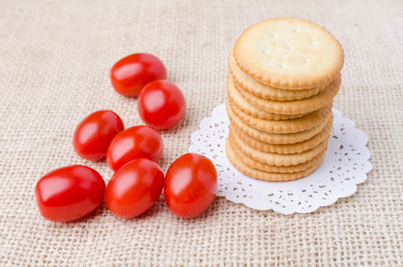 biscuits: Close up crackers biscuits on wooden background