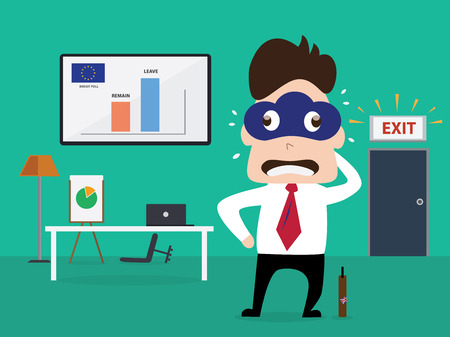 resign: Cloud mask man standing on exit door with poll result in dashboard Illustration