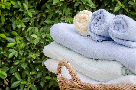 Selective focus of rolled bath towels at home