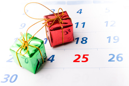 december 25: Close up of a calendar with focus on day 25 Stock Photo