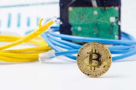 Information technology background. Concept of block chain technology illustrated to bitcoin or cryptocurrency over computer network elements. Stock Photo