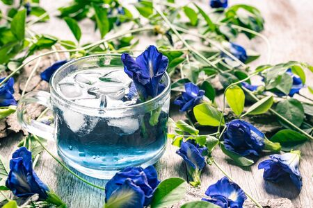 Fresh butterfly pea flower juice with ice in glass on wooden background