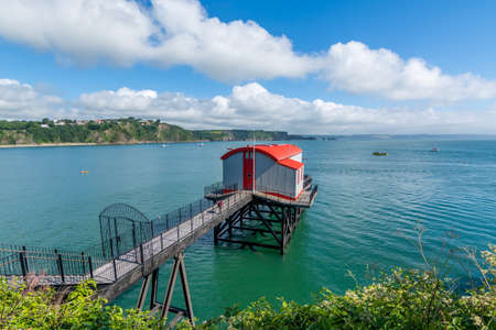 Old coastal lifeboat station at the tourist resort of Tenby, Pembokeshire, Wales. Stock Photo