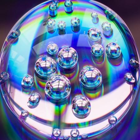 liquid reflect: Floating Bubbles Stock Photo