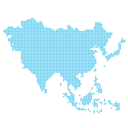 Map of Asia made of dots Imagens