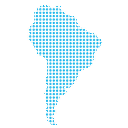 Map of South America made of dots