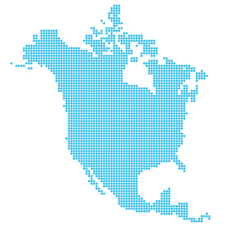 Map of North America made of dots