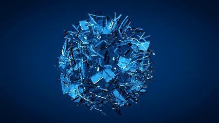 Blauwe verbrijzelde transparante glasexplosie Stockfoto