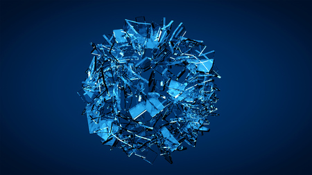 Blue shattered transparent glass explosion