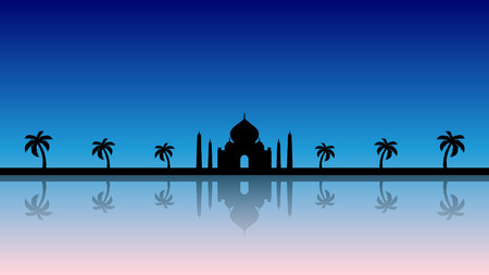A modern illustration of a fairytale background silhouette in blue