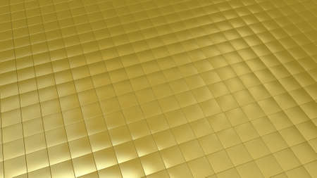 Background image with golden tiles in perspective view Banque d'images