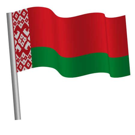 Belarus flag waving on a pole