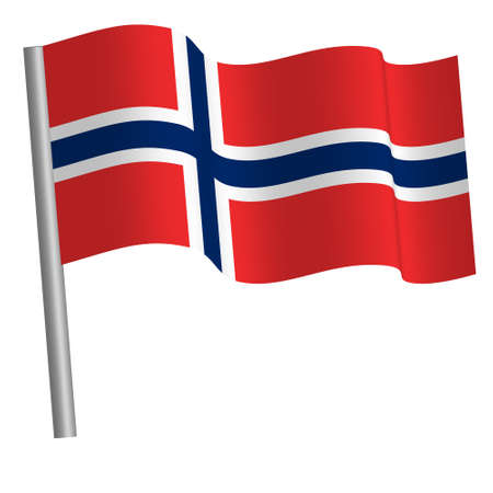 Norwegian / Bouvet island flag waving on a pole