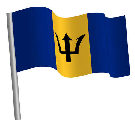 barbadian flag waving on a pole Banque d'images
