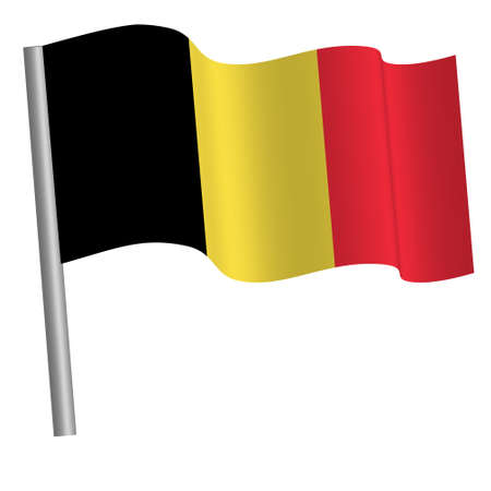Belgium flag waving on a pole