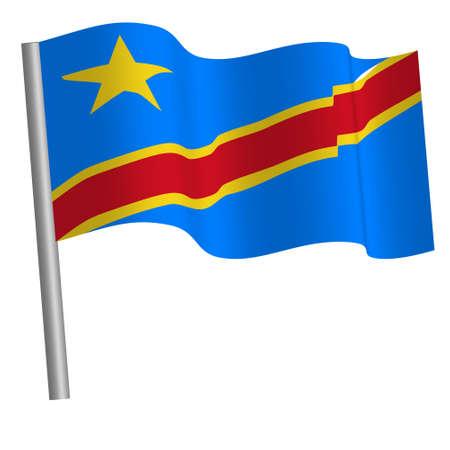congolese flag on a pole Banque d'images