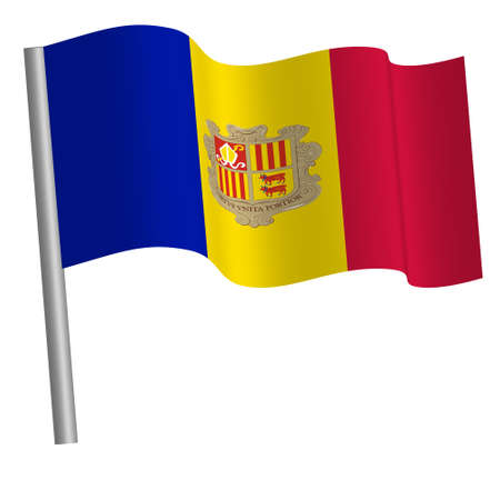 andorran flag waving on a pole