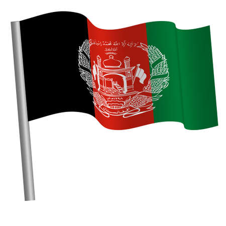 afghan flag waving on a pole