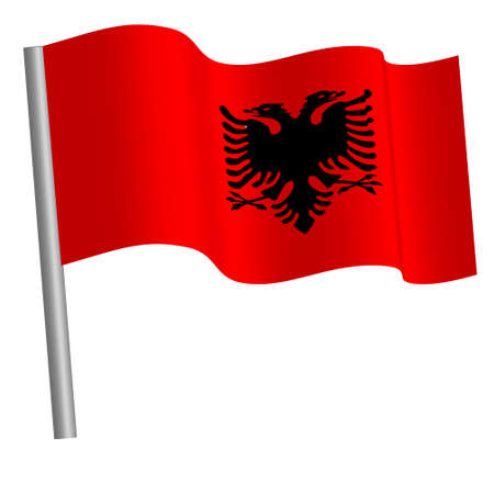 albanian flag waving on a pole Banque d'images