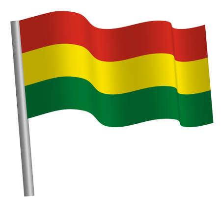 Bolivian flag waving on a pole